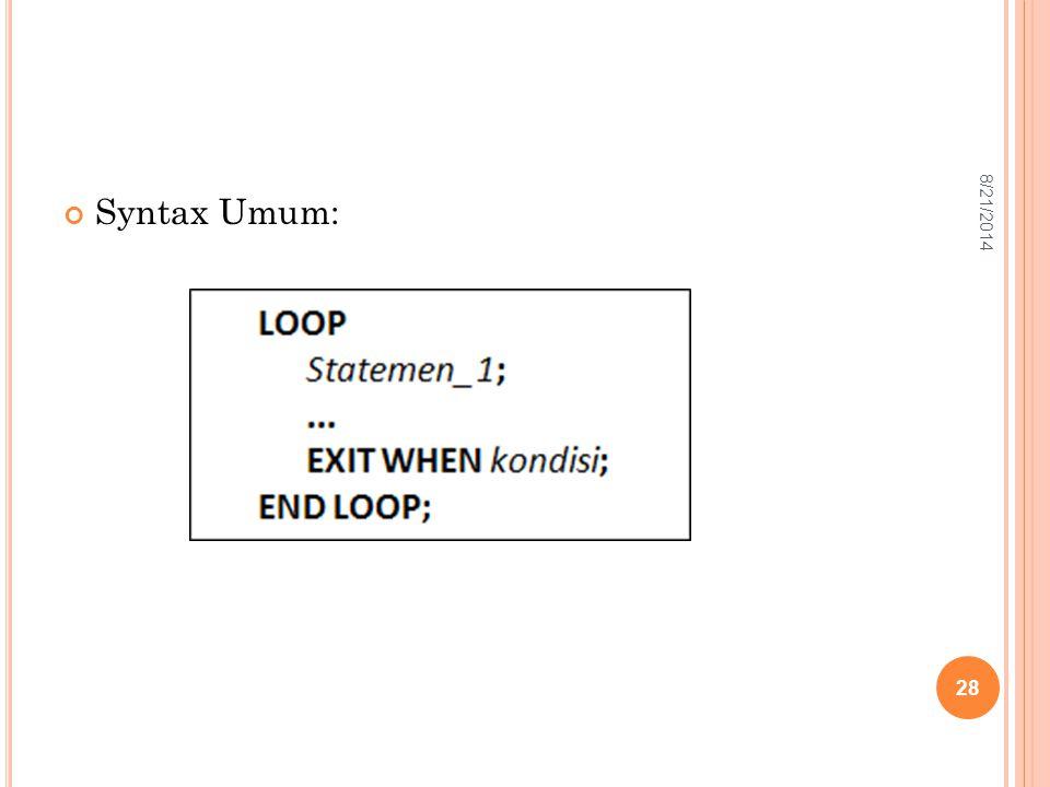 Syntax Umum: 28 8/21/2014