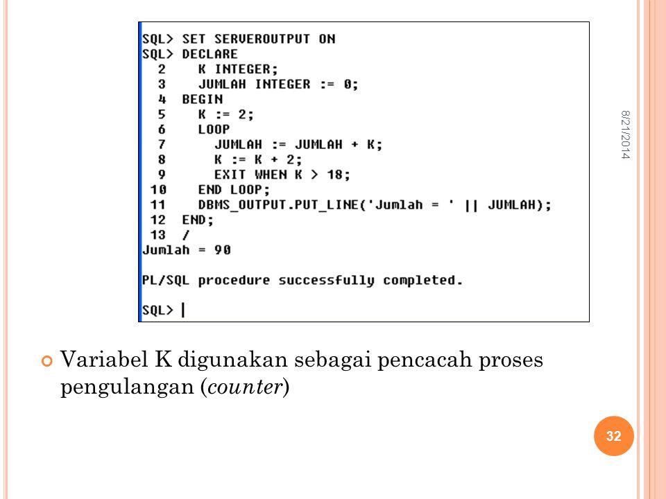 Variabel K digunakan sebagai pencacah proses pengulangan ( counter ) 32 8/21/2014