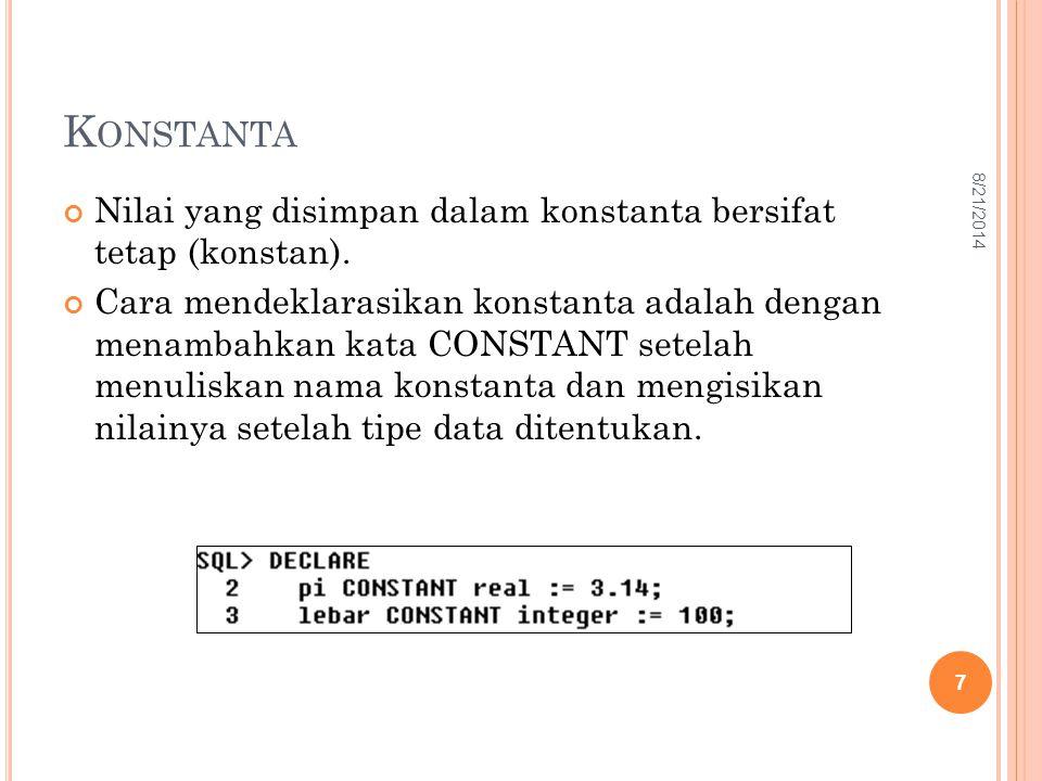 K ONSTANTA Nilai yang disimpan dalam konstanta bersifat tetap (konstan). Cara mendeklarasikan konstanta adalah dengan menambahkan kata CONSTANT setela