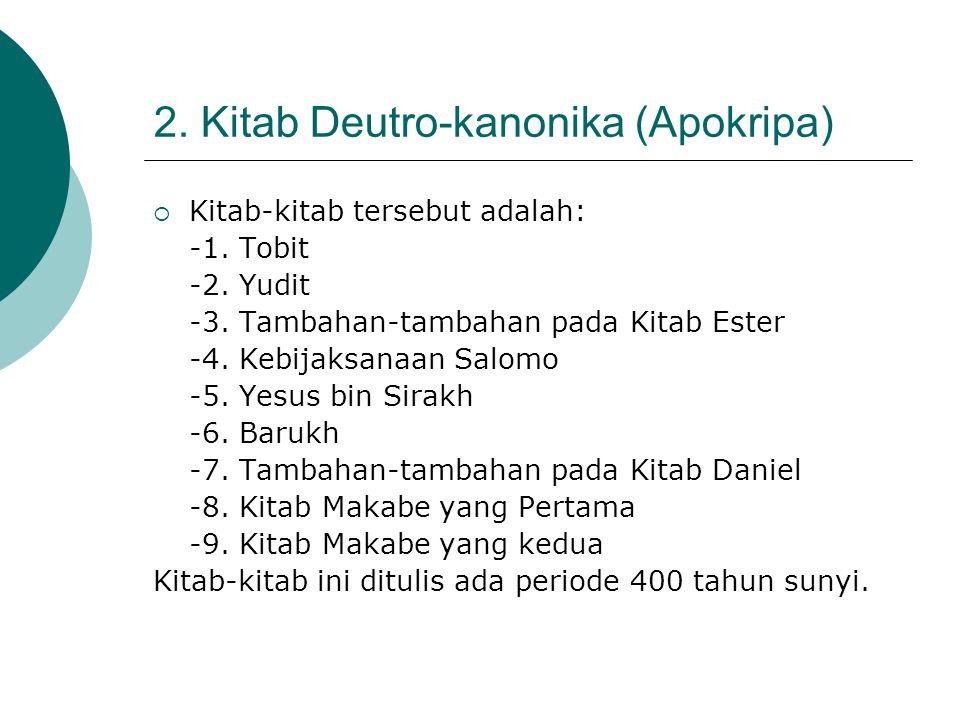 2. Kitab Deutro-kanonika (Apokripa)  Kitab-kitab tersebut adalah: -1. Tobit -2. Yudit -3. Tambahan-tambahan pada Kitab Ester -4. Kebijaksanaan Salomo
