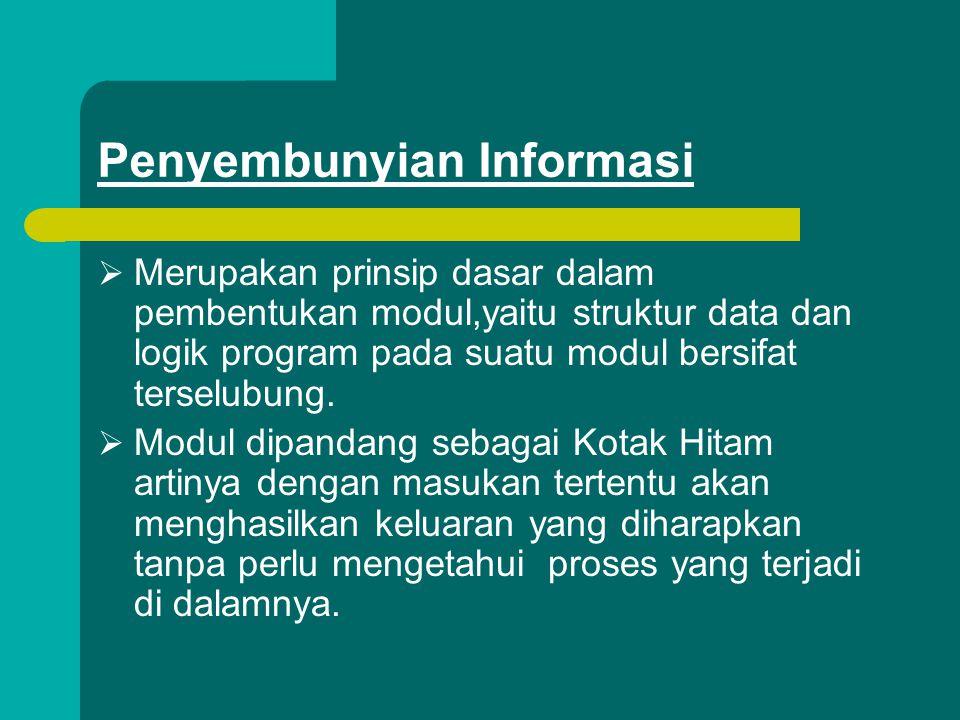 Penyembunyian Informasi  Merupakan prinsip dasar dalam pembentukan modul,yaitu struktur data dan logik program pada suatu modul bersifat terselubung.