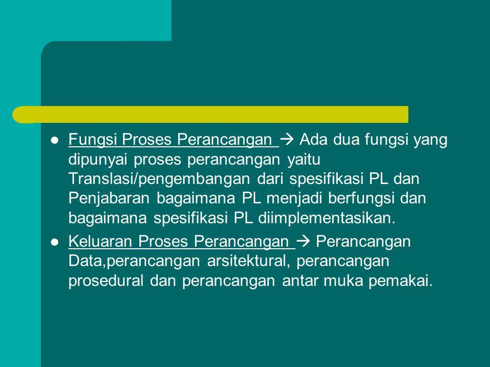 Fungsi Proses Perancangan  Ada dua fungsi yang dipunyai proses perancangan yaitu Translasi/pengembangan dari spesifikasi PL dan Penjabaran bagaimana