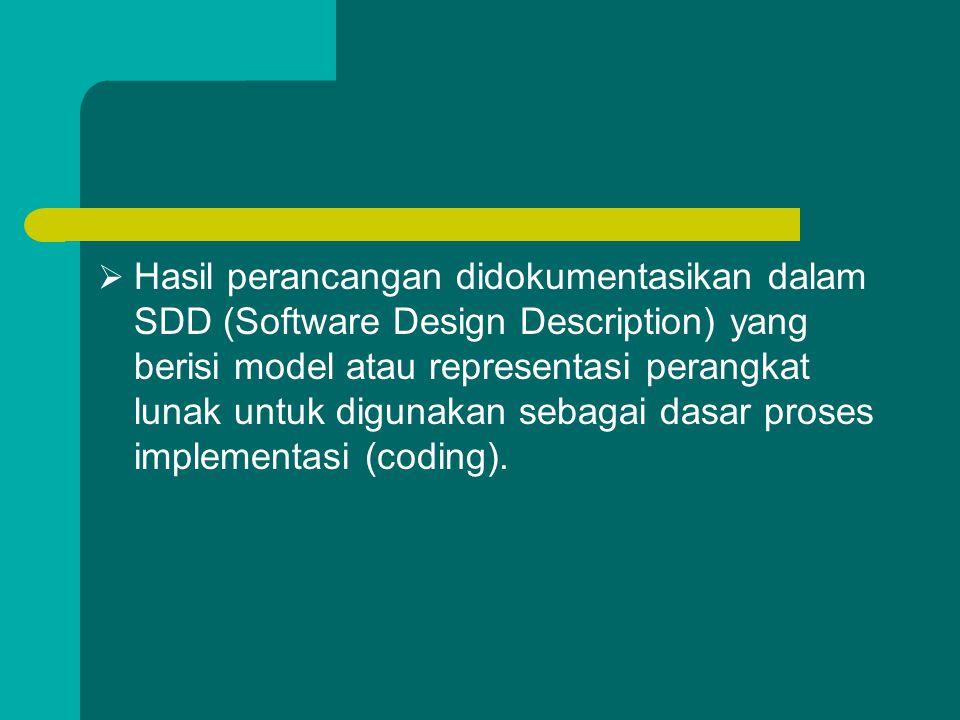  Hasil perancangan didokumentasikan dalam SDD (Software Design Description) yang berisi model atau representasi perangkat lunak untuk digunakan sebag
