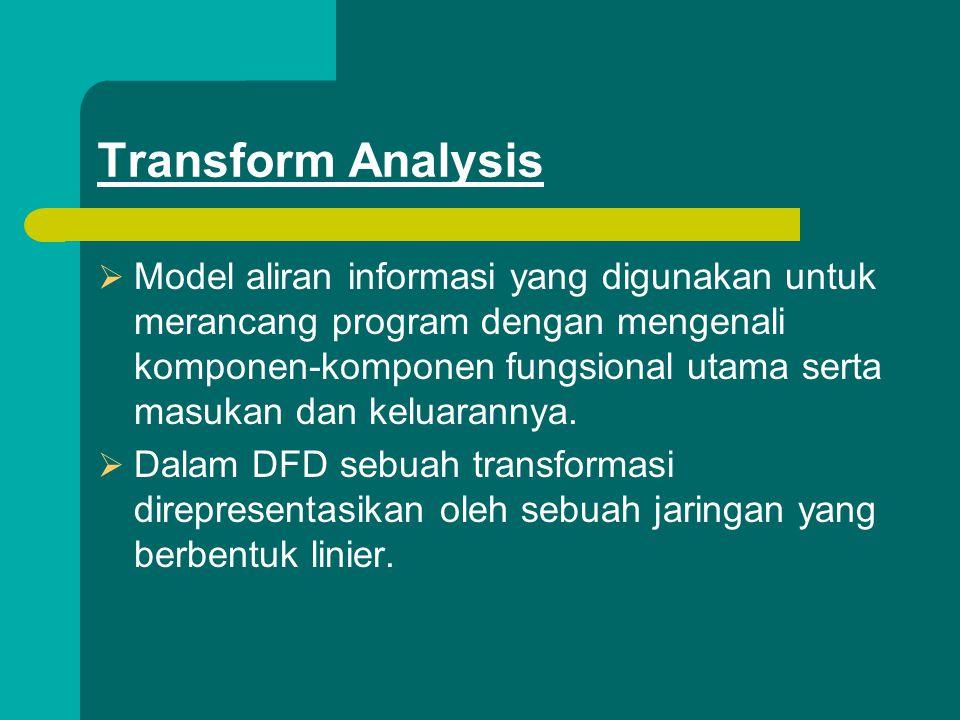 Transform Analysis  Model aliran informasi yang digunakan untuk merancang program dengan mengenali komponen-komponen fungsional utama serta masukan dan keluarannya.