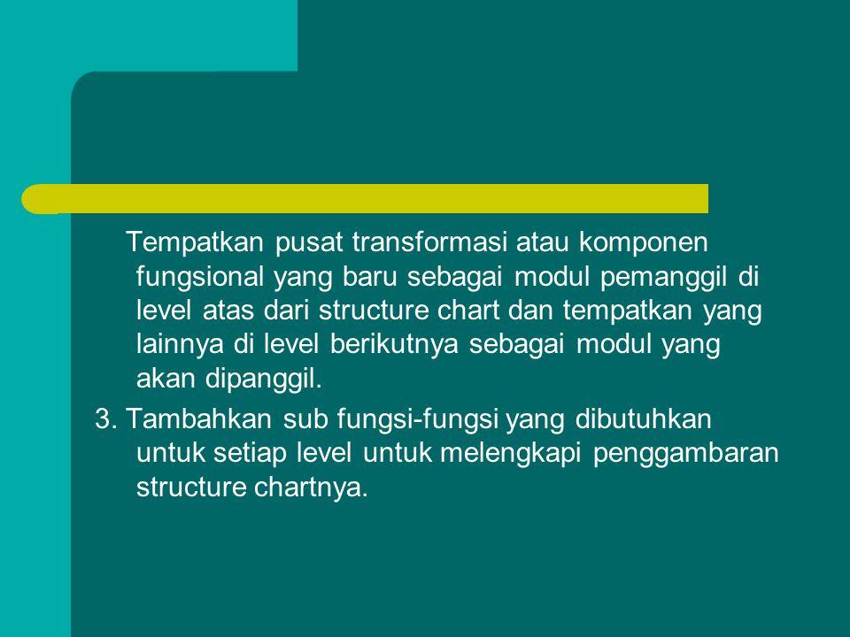 Tempatkan pusat transformasi atau komponen fungsional yang baru sebagai modul pemanggil di level atas dari structure chart dan tempatkan yang lainnya di level berikutnya sebagai modul yang akan dipanggil.