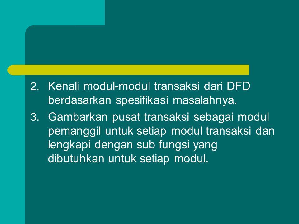 2. Kenali modul-modul transaksi dari DFD berdasarkan spesifikasi masalahnya. 3. Gambarkan pusat transaksi sebagai modul pemanggil untuk setiap modul t
