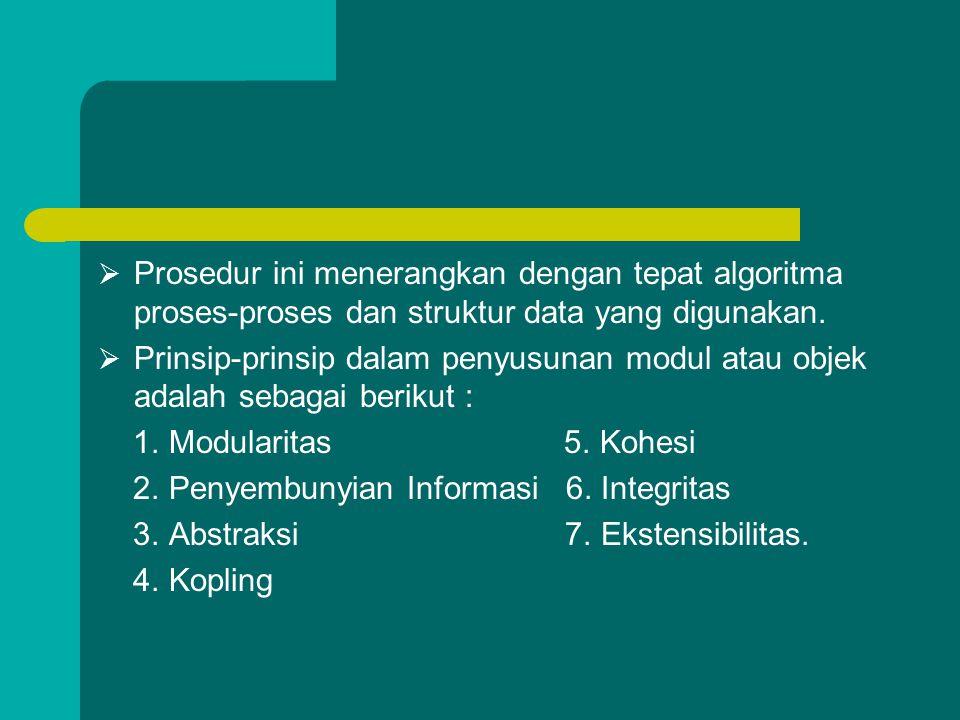  Prosedur ini menerangkan dengan tepat algoritma proses-proses dan struktur data yang digunakan.  Prinsip-prinsip dalam penyusunan modul atau objek