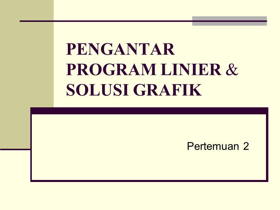 Pengantar Program Linier (PL) Dari contoh-contoh yang telah disampaikan pada Pertemuan I, terlihat bahwa terdapat suatu pola tertentu dalam memodelkan suatu masalah Program Linier (PL).
