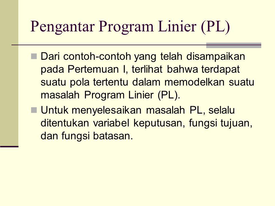 Pengantar Program Linier (PL) Dari contoh-contoh yang telah disampaikan pada Pertemuan I, terlihat bahwa terdapat suatu pola tertentu dalam memodelkan