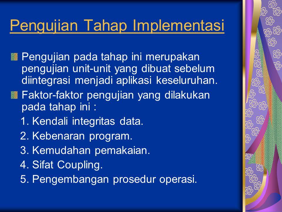 Pengujian Tahap Implementasi Pengujian pada tahap ini merupakan pengujian unit-unit yang dibuat sebelum diintegrasi menjadi aplikasi keseluruhan. Fakt