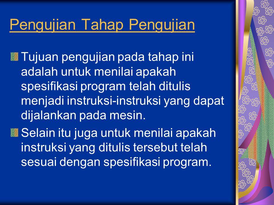 Pengujian Tahap Pengujian Tujuan pengujian pada tahap ini adalah untuk menilai apakah spesifikasi program telah ditulis menjadi instruksi-instruksi ya