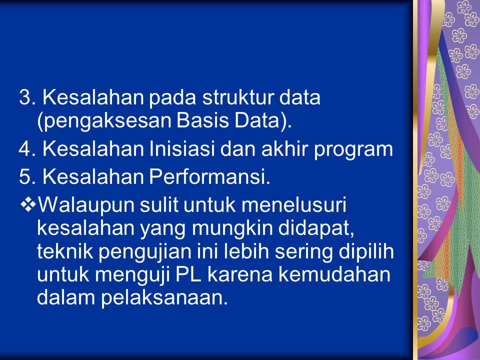 3. Kesalahan pada struktur data (pengaksesan Basis Data). 4. Kesalahan Inisiasi dan akhir program 5. Kesalahan Performansi.  Walaupun sulit untuk men