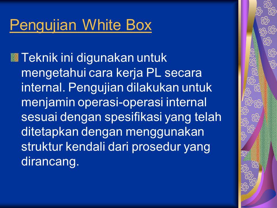 Pengujian White Box Teknik ini digunakan untuk mengetahui cara kerja PL secara internal. Pengujian dilakukan untuk menjamin operasi-operasi internal s