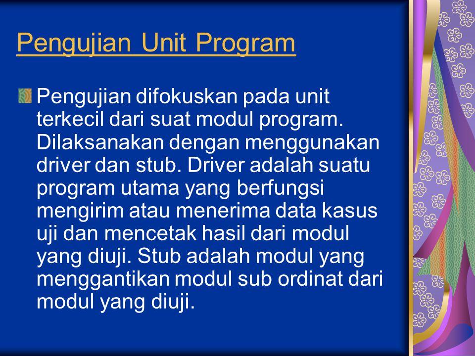 Pengujian Unit Program Pengujian difokuskan pada unit terkecil dari suat modul program. Dilaksanakan dengan menggunakan driver dan stub. Driver adalah