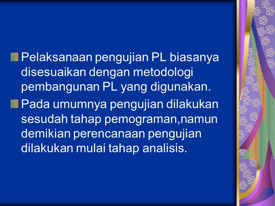 Pelaksanaan pengujian PL biasanya disesuaikan dengan metodologi pembangunan PL yang digunakan. Pada umumnya pengujian dilakukan sesudah tahap pemogram