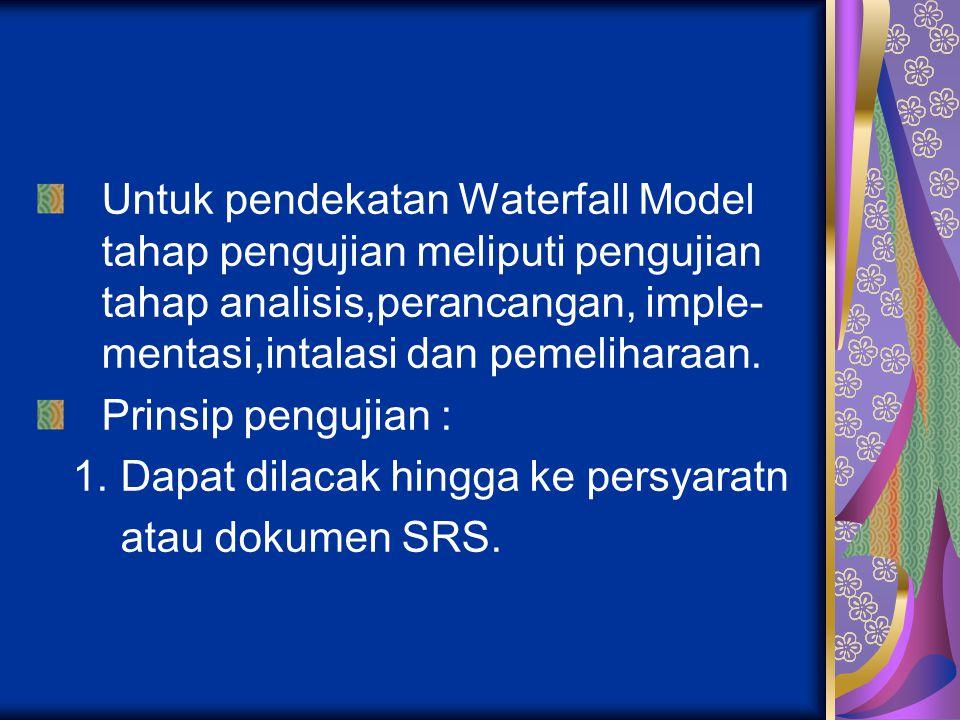 Untuk pendekatan Waterfall Model tahap pengujian meliputi pengujian tahap analisis,perancangan, imple- mentasi,intalasi dan pemeliharaan. Prinsip peng