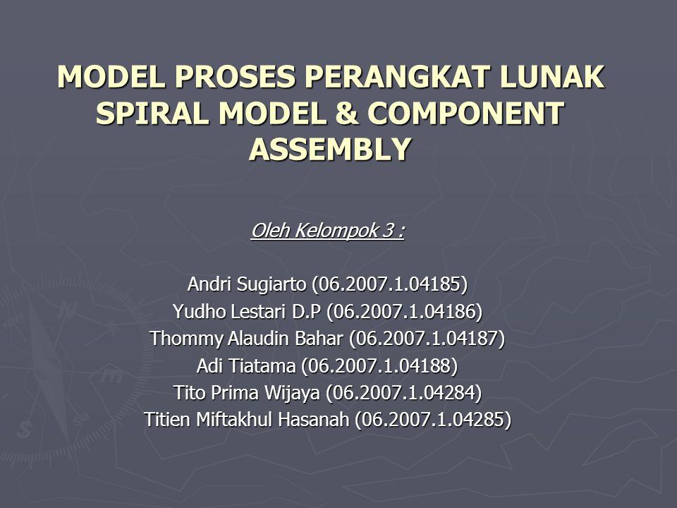 MODEL PROSES PERANGKAT LUNAK SPIRAL MODEL & COMPONENT ASSEMBLY Oleh Kelompok 3 : Andri Sugiarto (06.2007.1.04185) Yudho Lestari D.P (06.2007.1.04186)