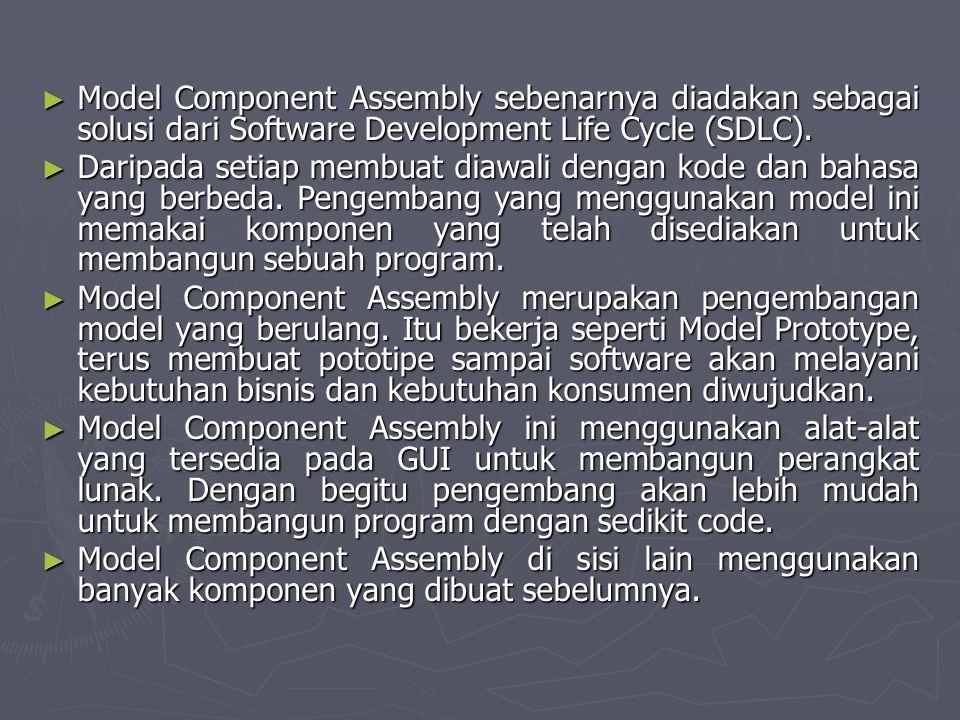 ► Model Component Assembly sebenarnya diadakan sebagai solusi dari Software Development Life Cycle (SDLC). ► Daripada setiap membuat diawali dengan ko