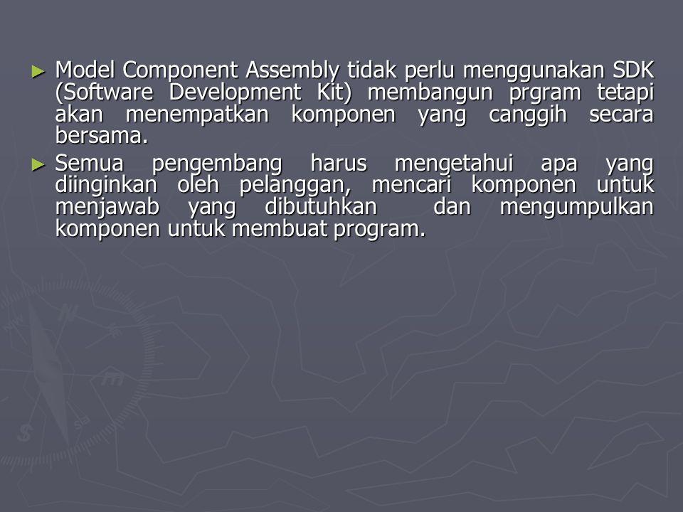 ► Model Component Assembly tidak perlu menggunakan SDK (Software Development Kit) membangun prgram tetapi akan menempatkan komponen yang canggih secar