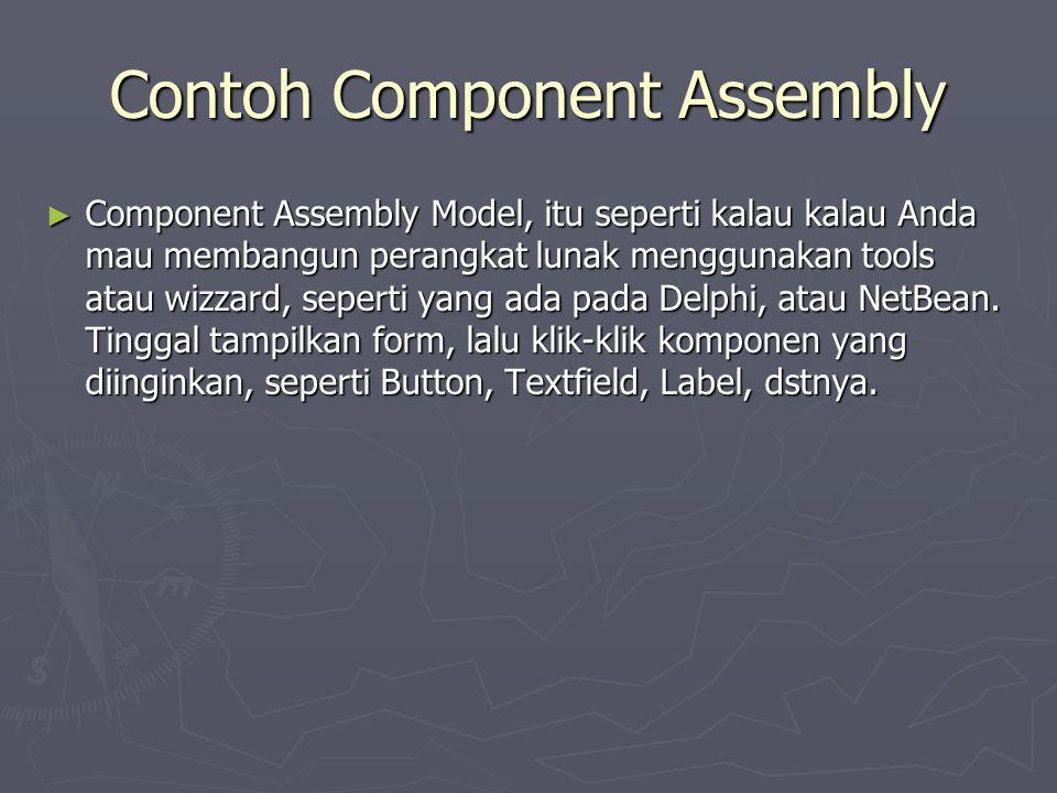 Contoh Component Assembly ► Component Assembly Model, itu seperti kalau kalau Anda mau membangun perangkat lunak menggunakan tools atau wizzard, seper