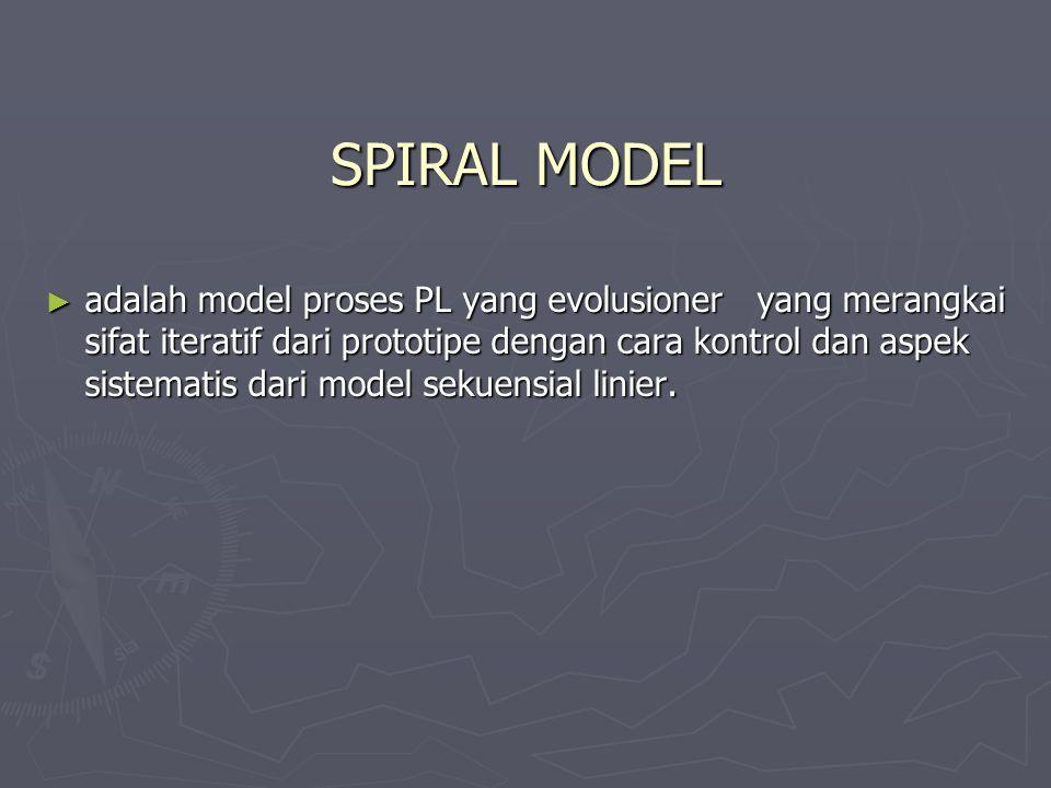SPIRAL MODEL ► adalah model proses PL yang evolusioner yang merangkai sifat iteratif dari prototipe dengan cara kontrol dan aspek sistematis dari mode