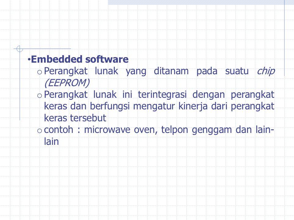 Embedded software o Perangkat lunak yang ditanam pada suatu chip (EEPROM) o Perangkat lunak ini terintegrasi dengan perangkat keras dan berfungsi meng