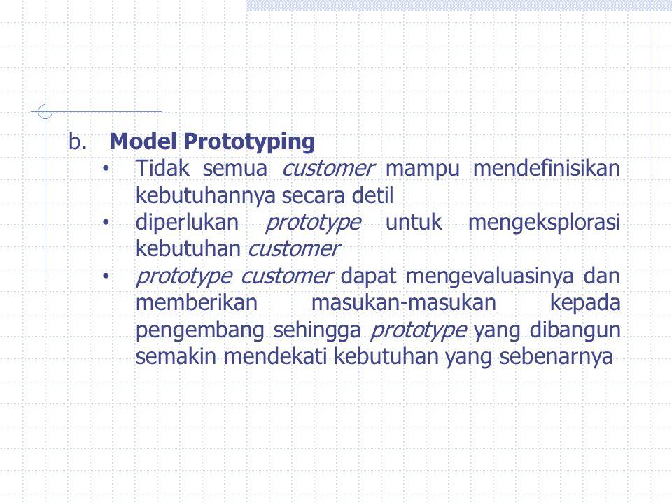 b. Model Prototyping Tidak semua customer mampu mendefinisikan kebutuhannya secara detil diperlukan prototype untuk mengeksplorasi kebutuhan customer