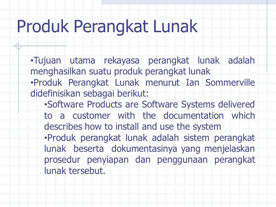 Produk Perangkat Lunak Tujuan utama rekayasa perangkat lunak adalah menghasilkan suatu produk perangkat lunak Produk Perangkat Lunak menurut Ian Somme