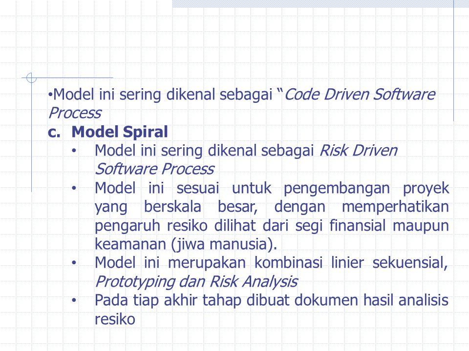 """Model ini sering dikenal sebagai """"Code Driven Software Process c.Model Spiral Model ini sering dikenal sebagai Risk Driven Software Process Model ini"""
