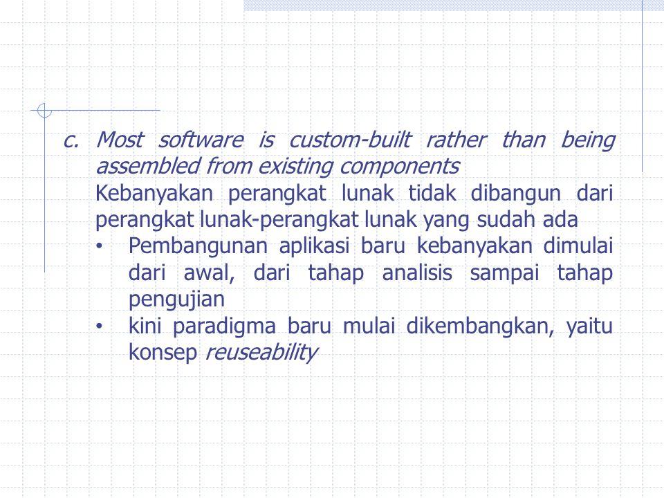 c.Most software is custom-built rather than being assembled from existing components Kebanyakan perangkat lunak tidak dibangun dari perangkat lunak-pe