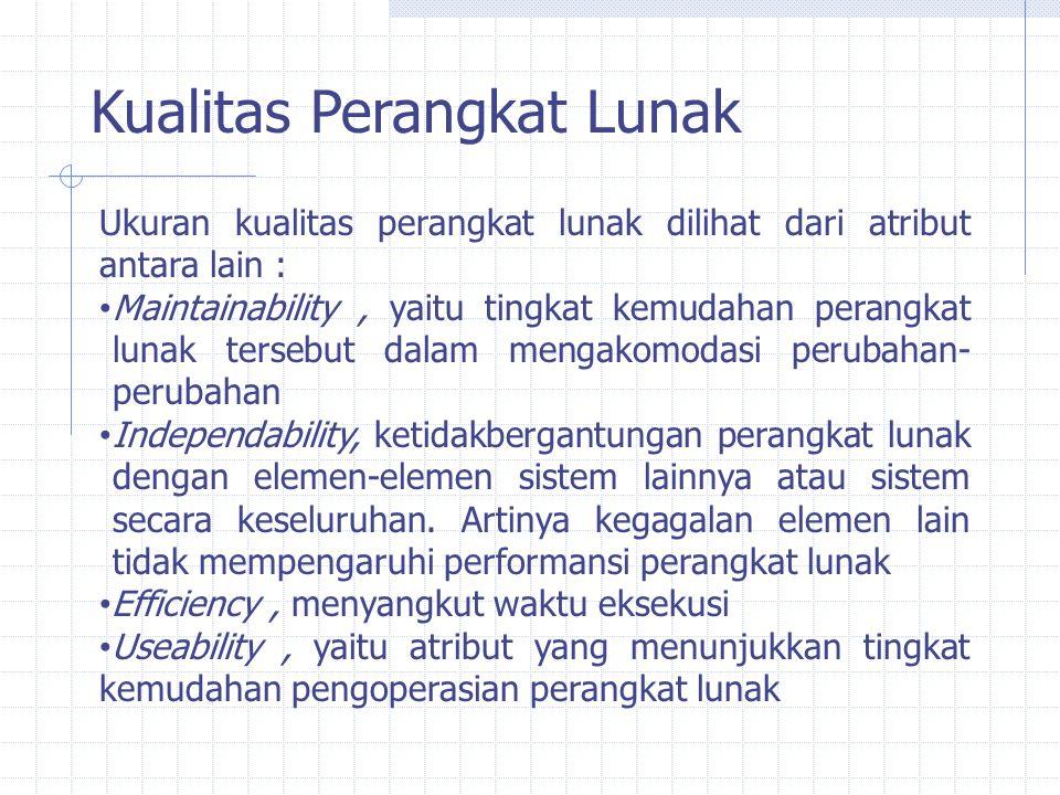Kualitas Perangkat Lunak Ukuran kualitas perangkat lunak dilihat dari atribut antara lain : Maintainability, yaitu tingkat kemudahan perangkat lunak t