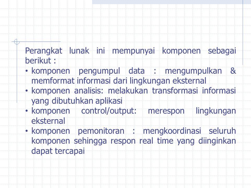 Perangkat lunak ini mempunyai komponen sebagai berikut : komponen pengumpul data : mengumpulkan & memformat informasi dari lingkungan eksternal kompon