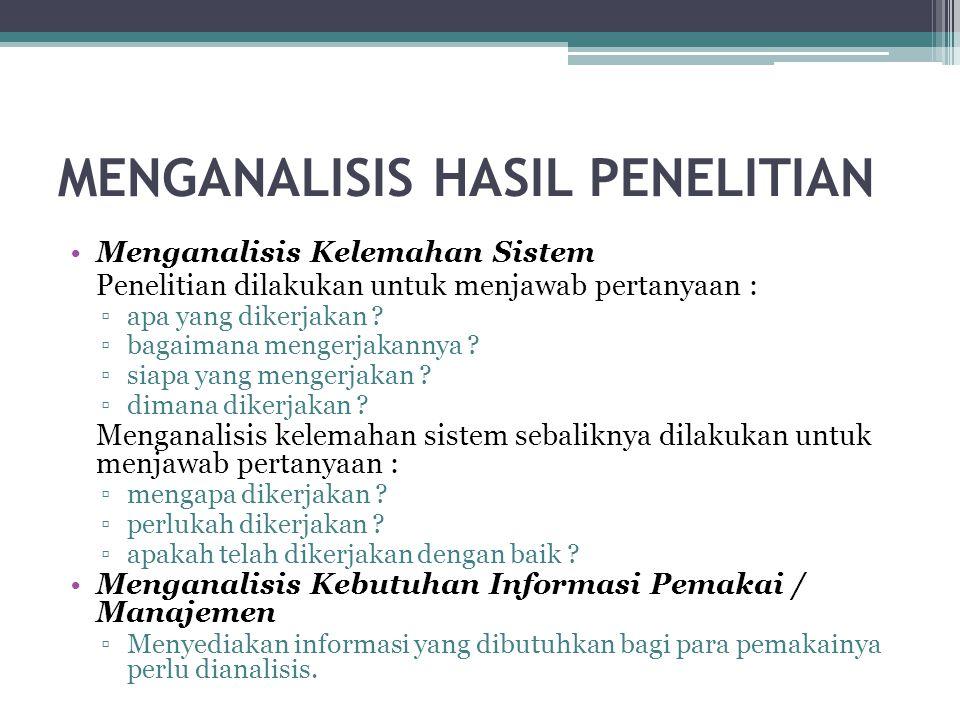 MENGANALISIS HASIL PENELITIAN Menganalisis Kelemahan Sistem Penelitian dilakukan untuk menjawab pertanyaan : ▫apa yang dikerjakan ? ▫bagaimana mengerj