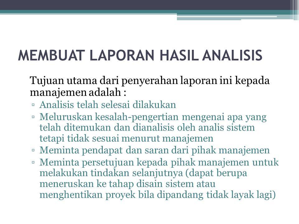 MEMBUAT LAPORAN HASIL ANALISIS Tujuan utama dari penyerahan laporan ini kepada manajemen adalah : ▫Analisis telah selesai dilakukan ▫Meluruskan kesala