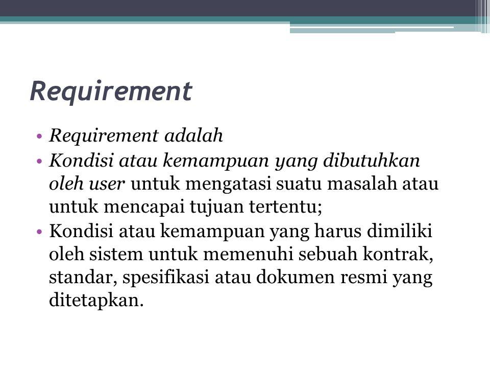 Requirement Requirement adalah Kondisi atau kemampuan yang dibutuhkan oleh user untuk mengatasi suatu masalah atau untuk mencapai tujuan tertentu; Kon