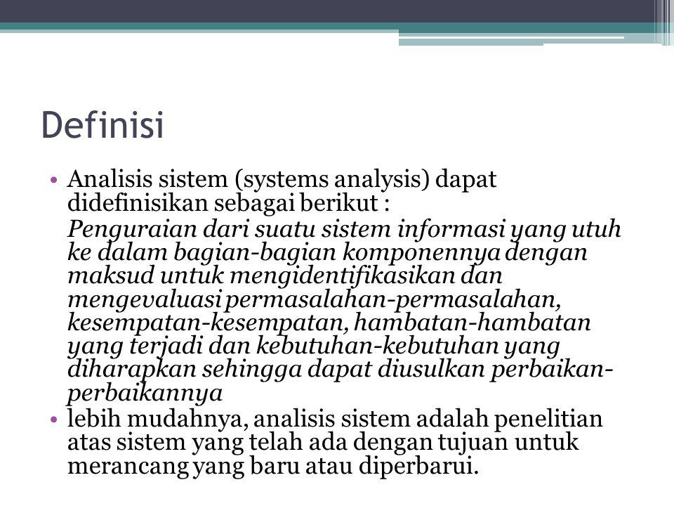 Definisi Analisis sistem (systems analysis) dapat didefinisikan sebagai berikut : Penguraian dari suatu sistem informasi yang utuh ke dalam bagian-bag