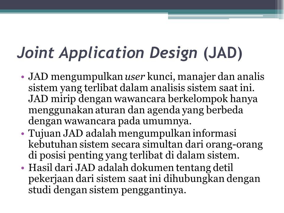 Joint Application Design (JAD) JAD mengumpulkan user kunci, manajer dan analis sistem yang terlibat dalam analisis sistem saat ini. JAD mirip dengan w