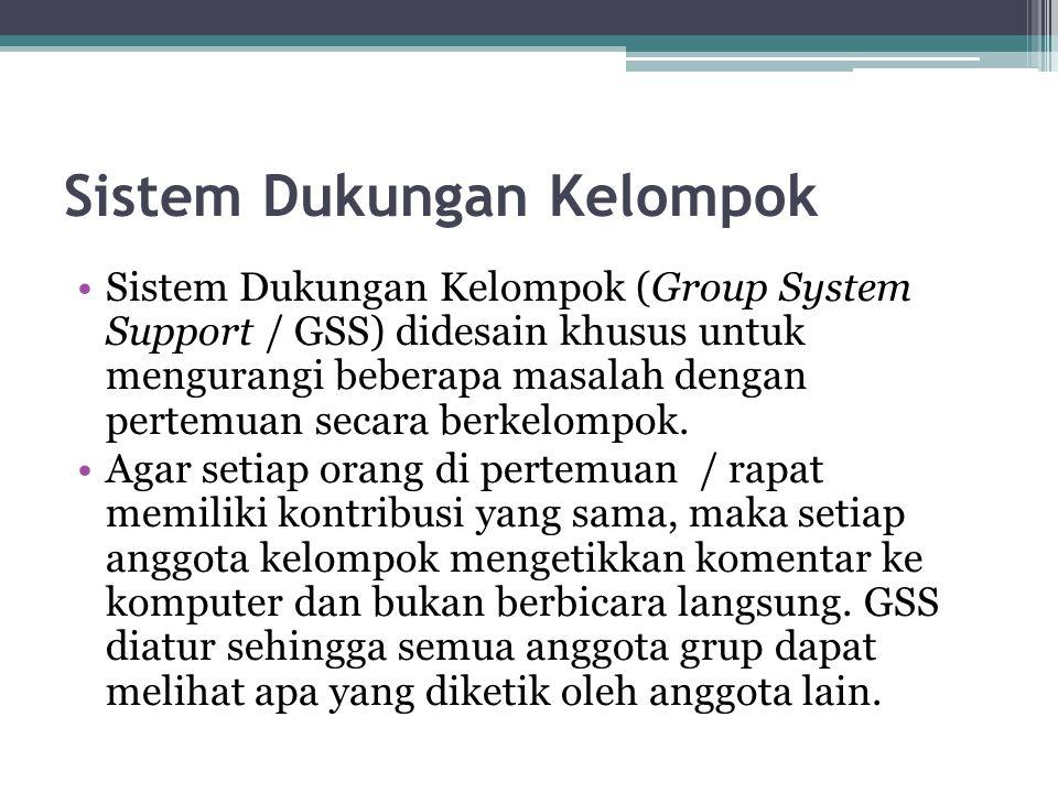 Sistem Dukungan Kelompok Sistem Dukungan Kelompok (Group System Support / GSS) didesain khusus untuk mengurangi beberapa masalah dengan pertemuan seca