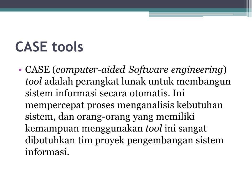 CASE tools CASE (computer-aided Software engineering) tool adalah perangkat lunak untuk membangun sistem informasi secara otomatis. Ini mempercepat pr