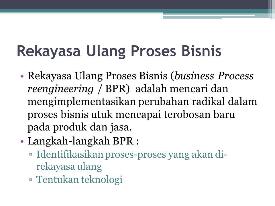 Rekayasa Ulang Proses Bisnis Rekayasa Ulang Proses Bisnis (business Process reengineering / BPR) adalah mencari dan mengimplementasikan perubahan radi