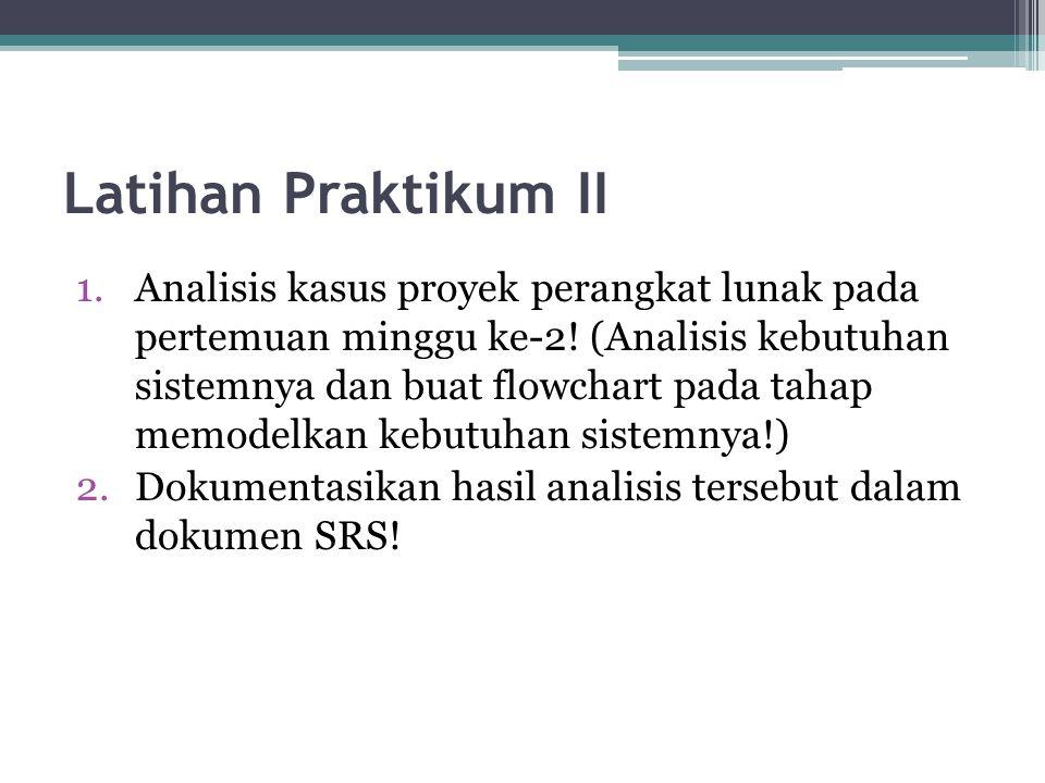 Latihan Praktikum II 1.Analisis kasus proyek perangkat lunak pada pertemuan minggu ke-2! (Analisis kebutuhan sistemnya dan buat flowchart pada tahap m