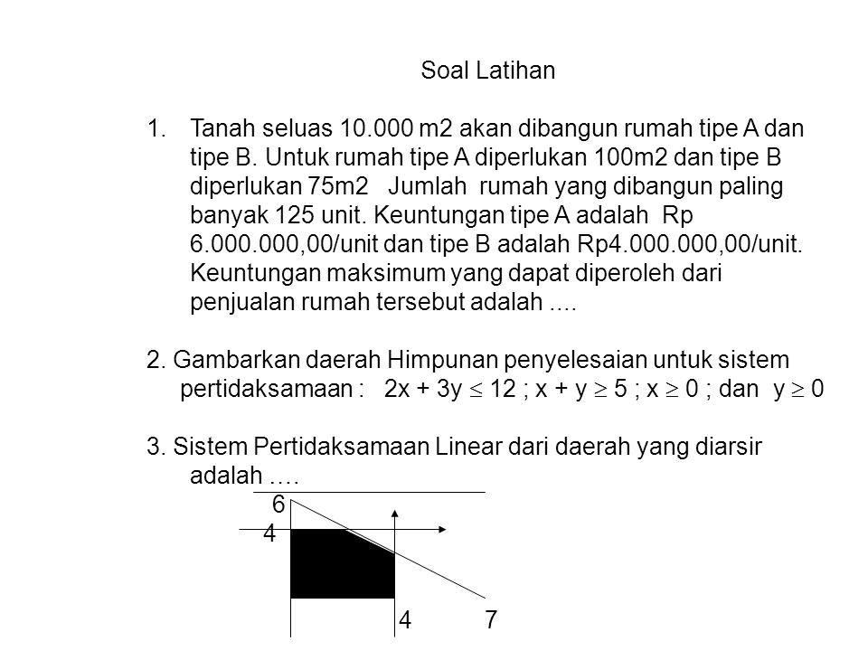 d. Nilai optimum x y k = 45x + 25y A 0 50 1250 B 15 25 1300 C 30 0 1350 Biaya minimum adalah Rp 1.250.000,- Apabila x = 0 dan y = 30