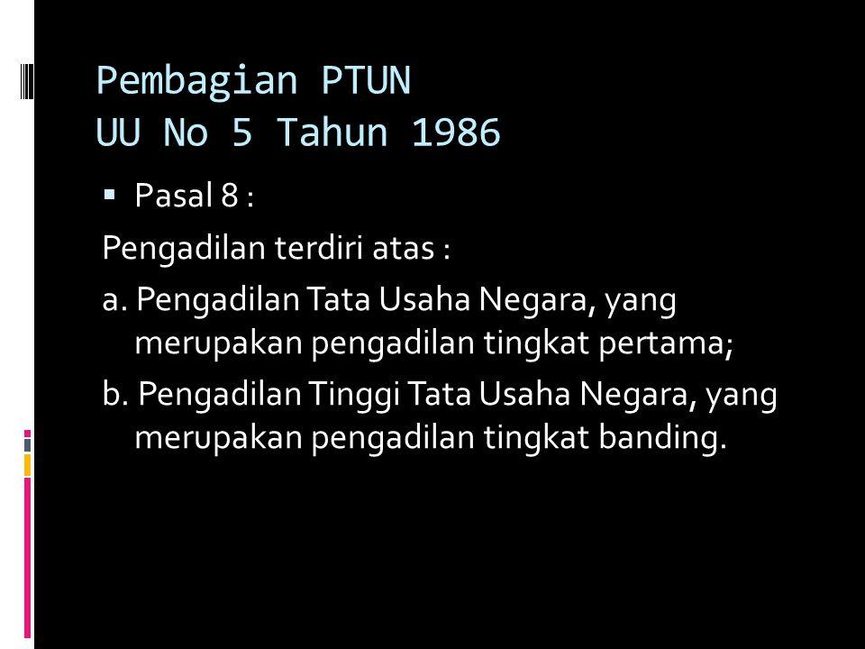 Pembagian PTUN UU No 5 Tahun 1986  Pasal 8 : Pengadilan terdiri atas : a.
