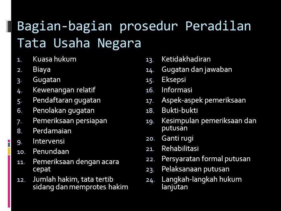 Bagian-bagian prosedur Peradilan Tata Usaha Negara 1.