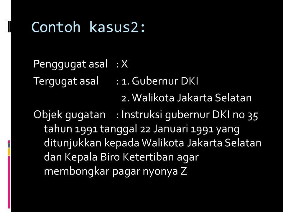 Contoh kasus2: Penggugat asal: X Tergugat asal: 1.