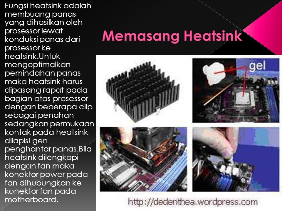 Fungsi heatsink adalah membuang panas yang dihasilkan oleh prosessor lewat konduksi panas dari prosessor ke heatsink.Untuk mengoptimalkan pemindahan p