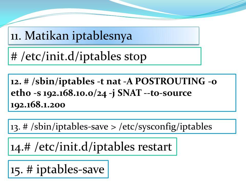 # /etc/init.d/iptables stop 11.Matikan iptablesnya 12.