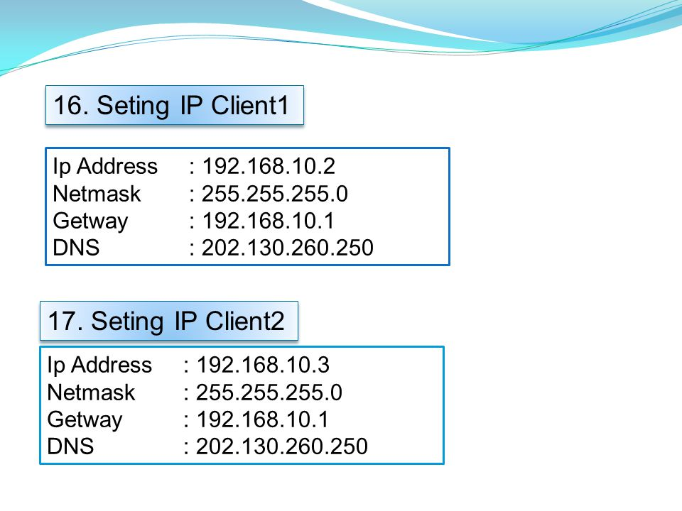 Ip Address: 192.168.10.2 Netmask: 255.255.255.0 Getway: 192.168.10.1 DNS: 202.130.260.250 16. Seting IP Client1 Ip Address: 192.168.10.3 Netmask: 255.