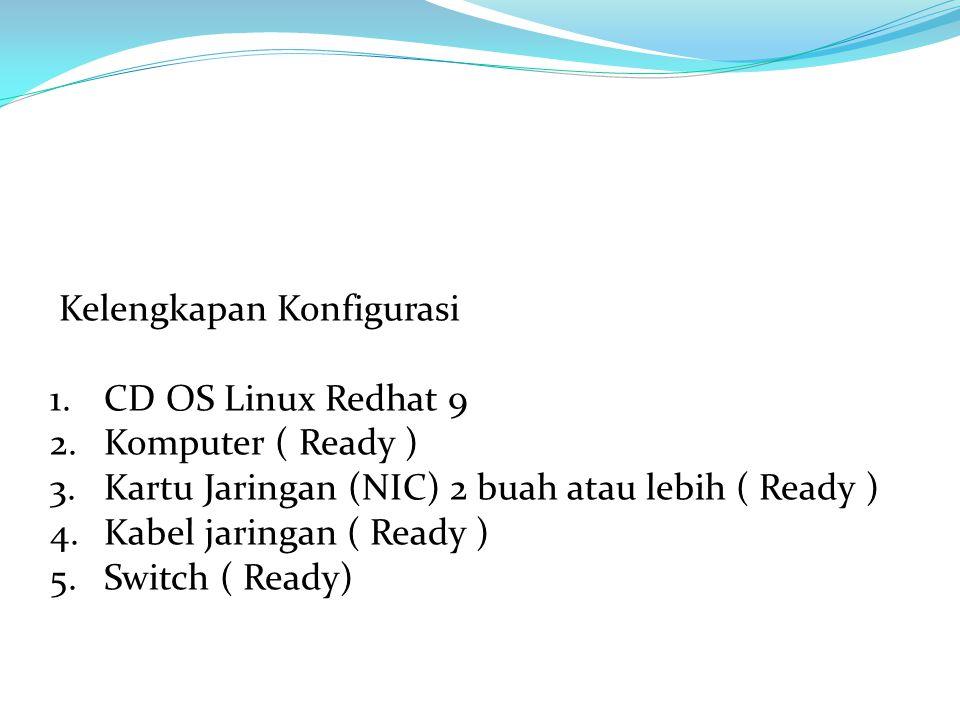 Kelengkapan Konfigurasi 1.CD OS Linux Redhat 9 2.Komputer ( Ready ) 3.Kartu Jaringan (NIC) 2 buah atau lebih ( Ready ) 4.Kabel jaringan ( Ready ) 5.Switch ( Ready)
