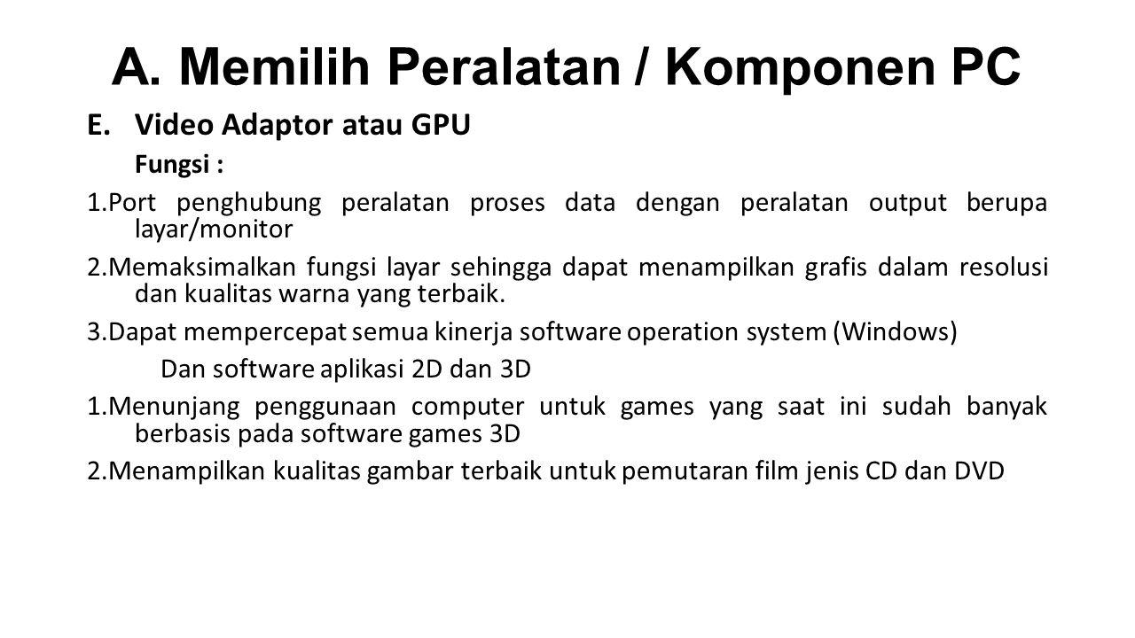 A. Memilih Peralatan / Komponen PC E.Video Adaptor atau GPU Fungsi : 1.Port penghubung peralatan proses data dengan peralatan output berupa layar/moni